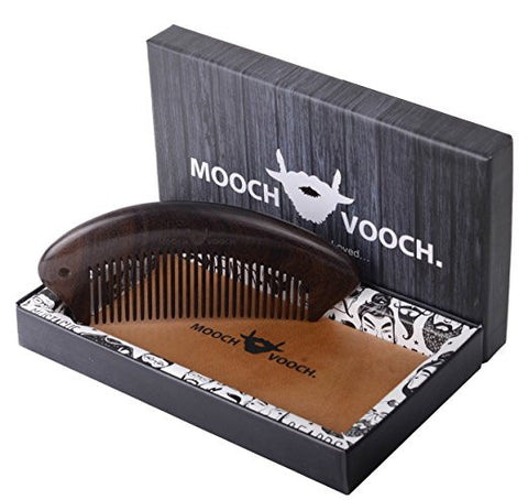 Mooch Vooch Head Hair, Beard, Mustache Comb with Pure Leather Pouch, Natural Chacate Preto Wood, Packaged in Premium Giftbox