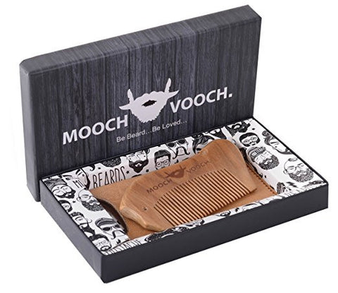 Mooch Vooch Head Hair, Beard, Mustache Comb with Pure Leather Pouch, Natural Organic Wood Scent, Packaged in Premium Giftbox