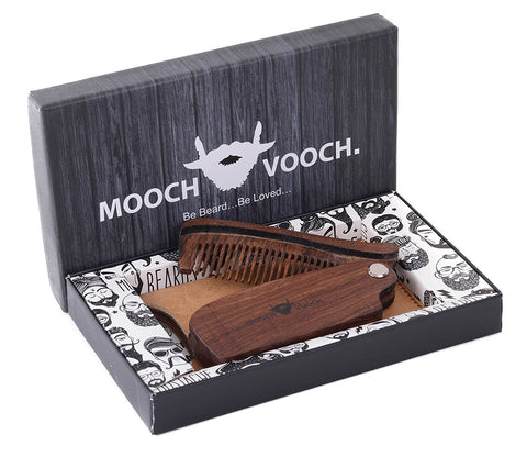 Mooch Vooch Head Hair, Beard, Mustache Folding Comb with Pure Leather Pouch, Packaged in Premium Giftbox