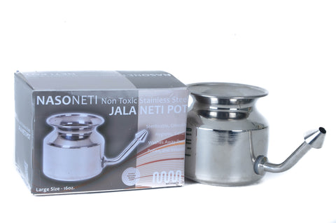 Stainless Steel Neti Pot for Sinus Congestion (Ayurvedic JalaNeti)