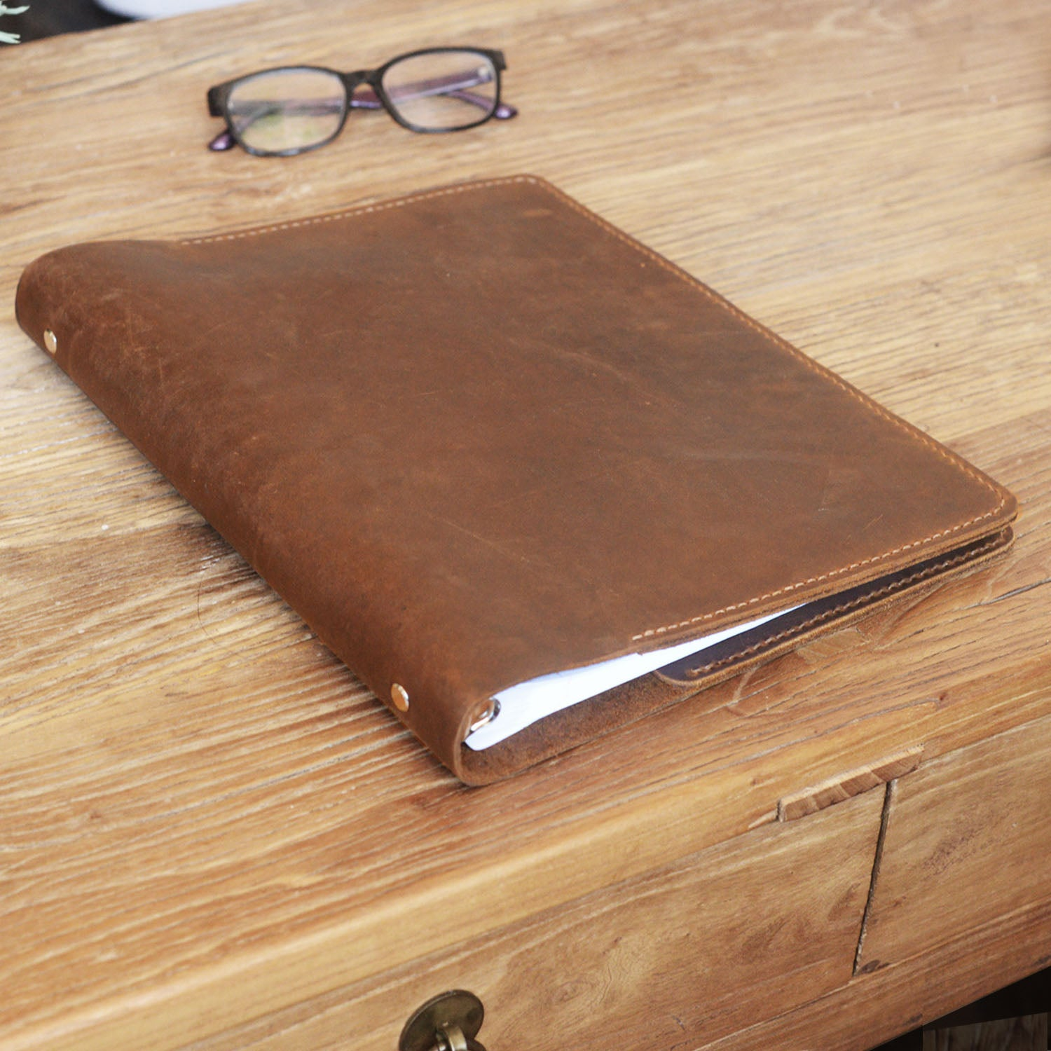 Leather Binder 3-Ring, Fit 3 Hole 8.5 X 11 Refill Paper Or
