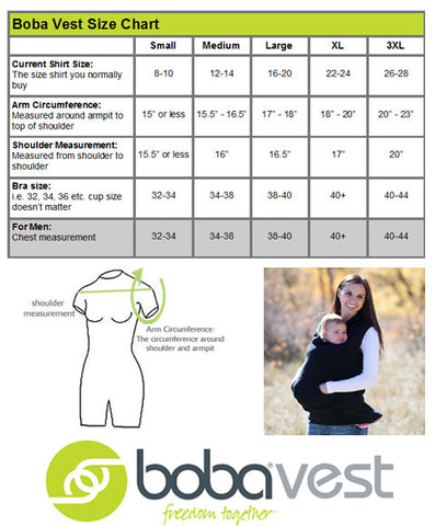 Boba babywearing vest size chart, free UK delivery with Koala Slings