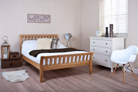 Silentnight Ludlow Oak Sleigh Bed 4'6 Double -  - 1