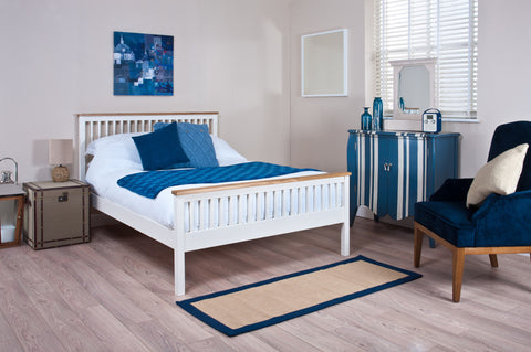 Silentnight Warren White and Oak Bed 4'6 Double -  - 1