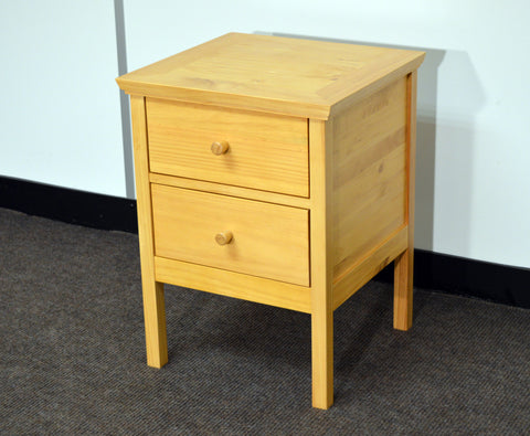 Ontario Pine 2 Drawer Bedside Table -