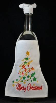 Wine Bottle Apron - Merry Christmas Swirls and Stars