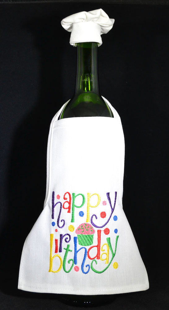 Wine Bottle Apron - Happy Birthday - Bright