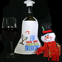 Wine Bottle Apron - He Sees You When You're Drinking