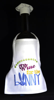 Wine Bottle Apron - Wine for the Bunny ....