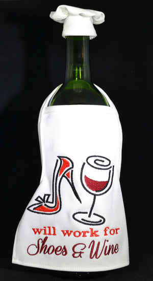Wine Bottle Apron - Wine and Shoes