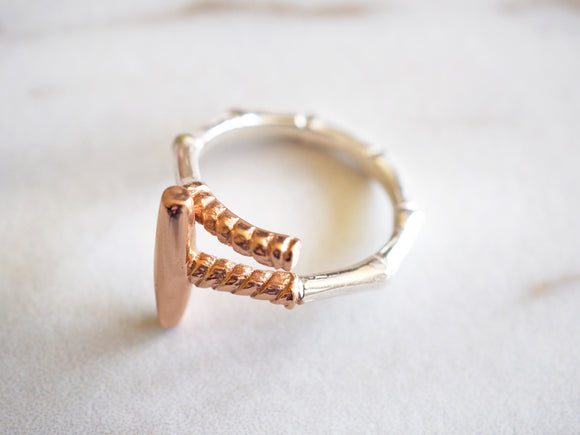 Silver and Rose Gold Polo Mallet Ring