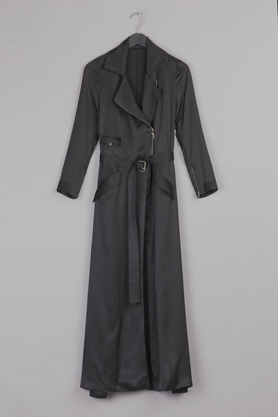 Satin Trench Coat- Black