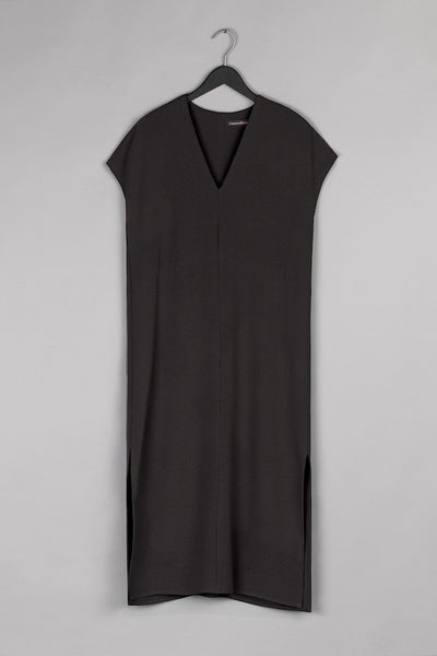 V Neck Shirt Dress- Black