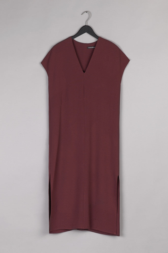 V Neck Shirt Dress- Bordeaux