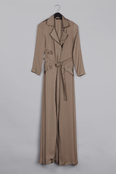 Satin Trench Coat- Nude