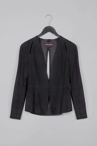 Leather Cut-Out Blazer- Black