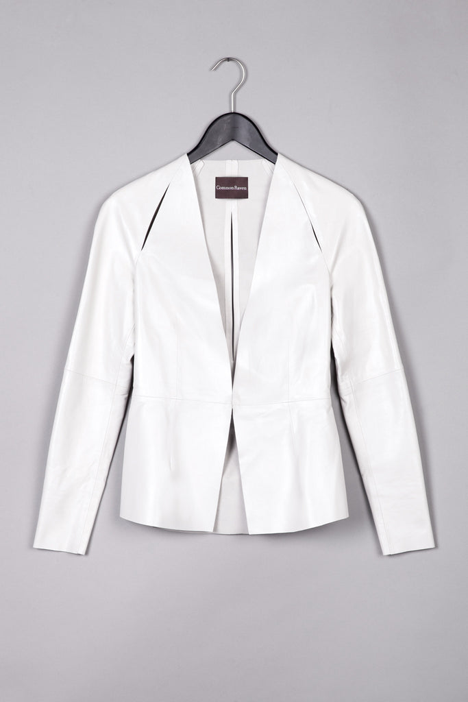 Leather Cut-Out Blazer- Creme