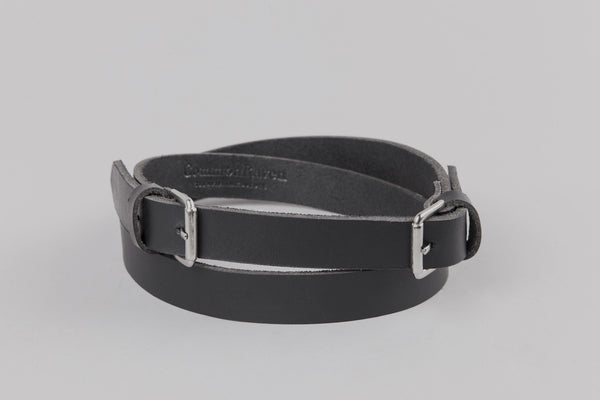 Leather Raven Belt With Silver Buckle