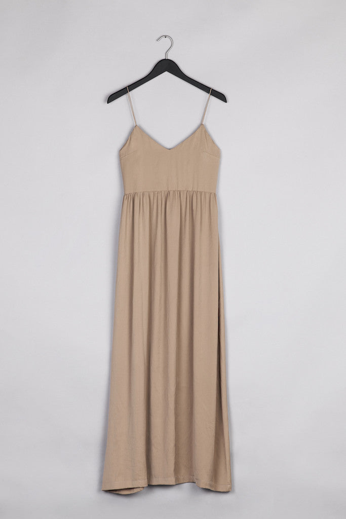 Maxi Thin Strap Dress- Nude