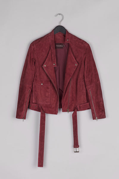 Biker Leather Jacket- Bordeaux
