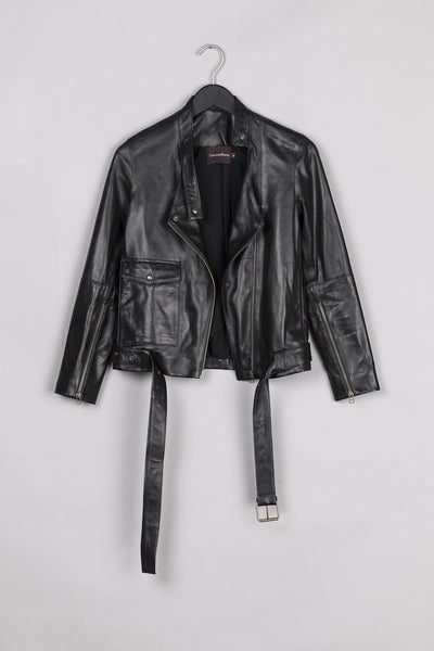 Biker Leather Jacket- Black
