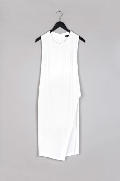 A- Symmetrical Racerback Dress- White