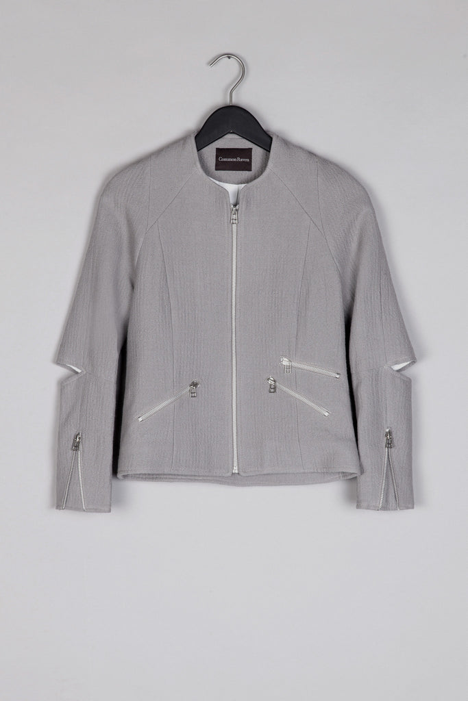 Wool Zipper Blazer- Stone Grey