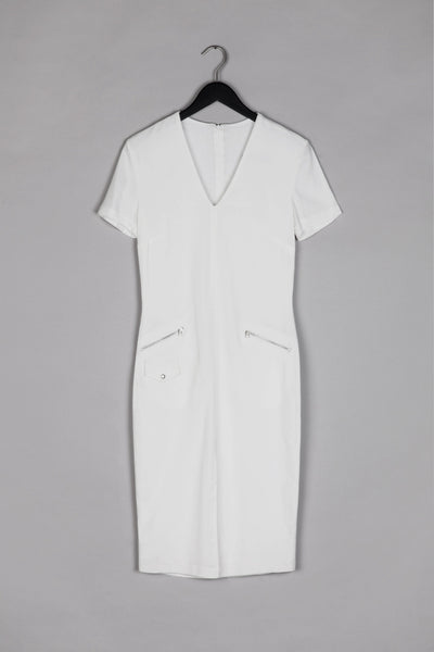 V Neckline Tailored Dress- White