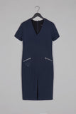 V Neckline Tailored Dress- Blue