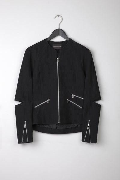 Wool Zipper Blazer- Black