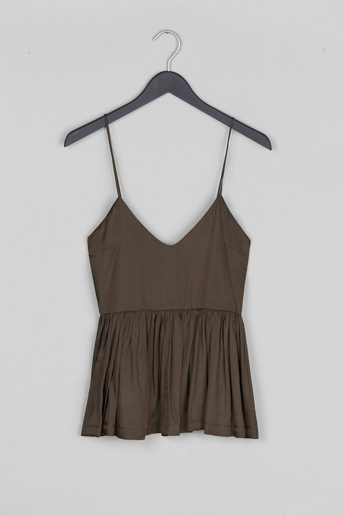 Peplum Top- Brown