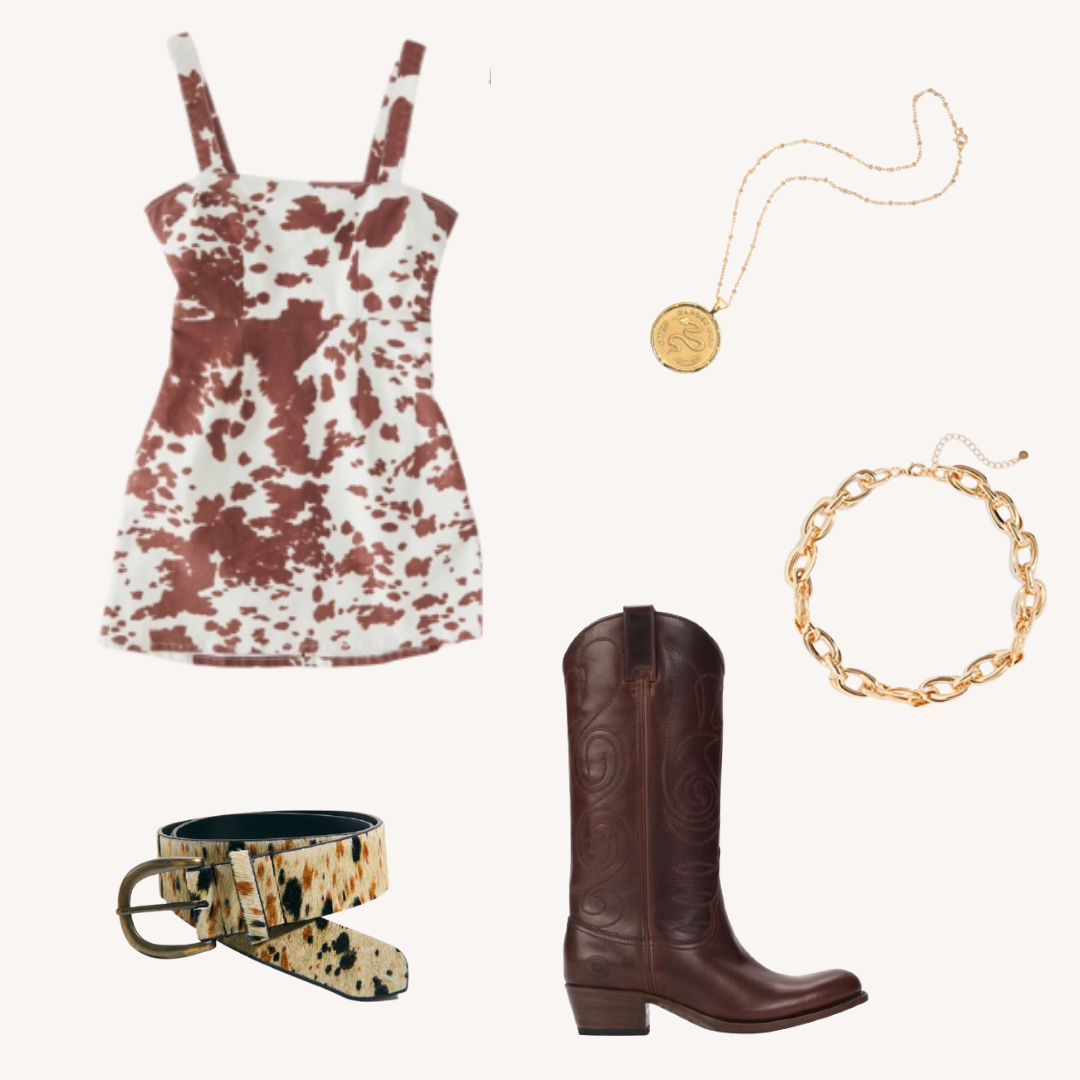 COW PRINT DRESS RRB