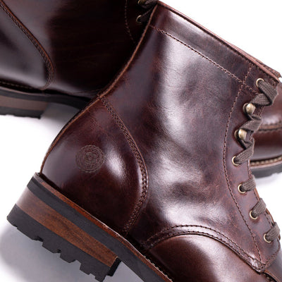 Mens Aster Brown Military Inspired Leather Boot - Ranch Road Boots™ Side Logo Detail