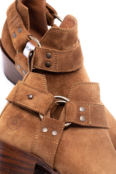 Womens Azalea Harness Brown Suede Boot - Ranch Road Boots™ Ankle Detail
