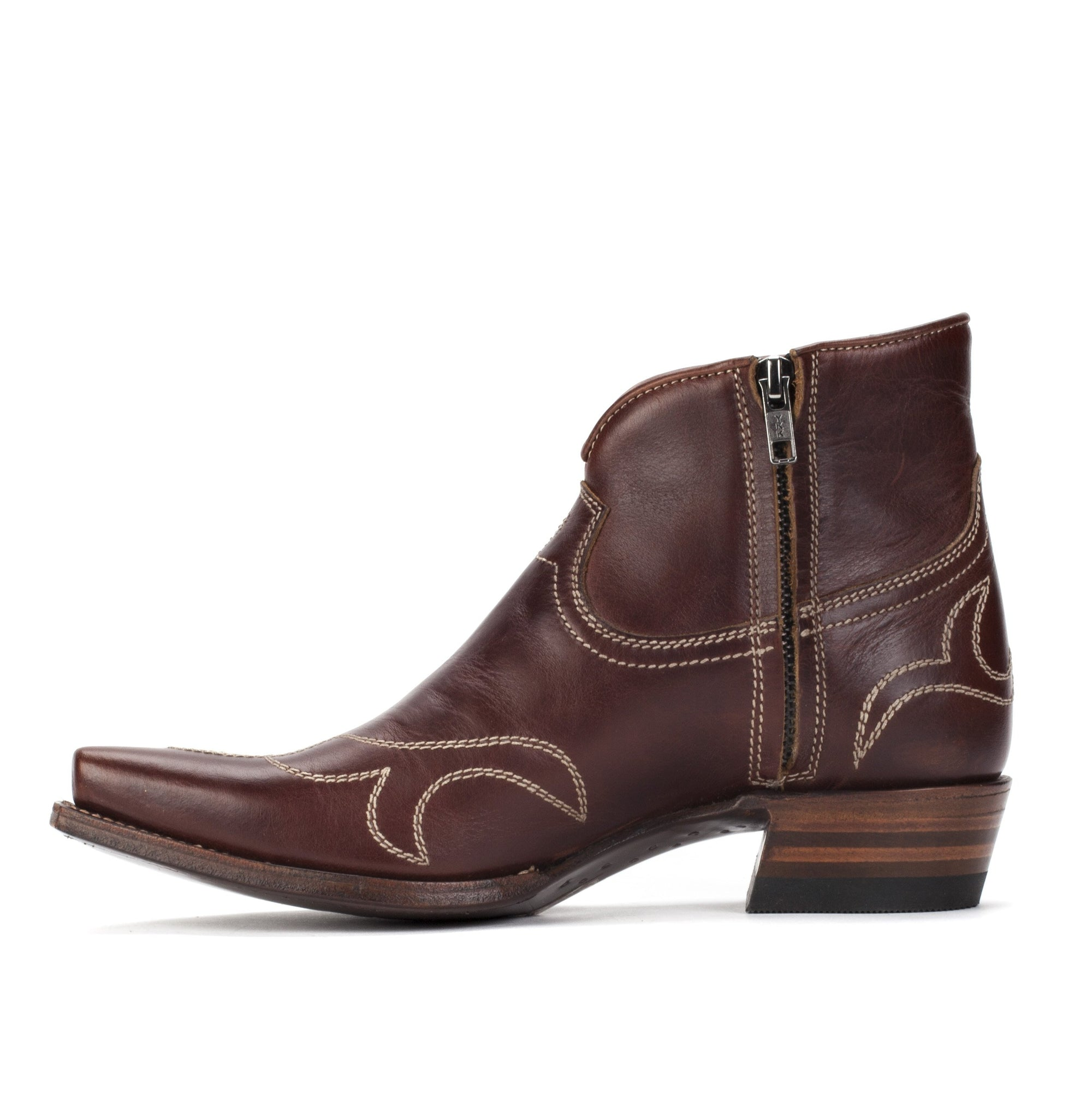 Womens Bell Brown Handmade Leather Western Bootie - Ranch Road Boots™
