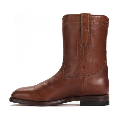Mens Handmade Leather Bexar Cognac Boots - Ranch Road Boots™ - side stitch detail