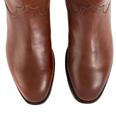 Mens Handmade Leather Bexar Cognac Boots - Ranch Road Boots™ - top