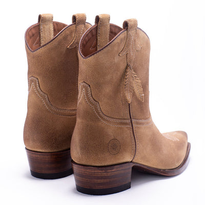 Womens Bluebell Feather Camel Suede Boot - Ranch Road Boots™ Back Side Pair