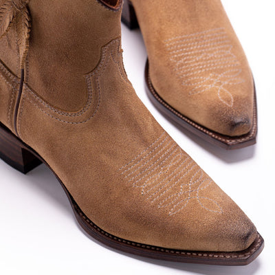 Womens Bluebell Feather Camel Suede Boot - Ranch Road Boots™ Side Front Stitching Detail