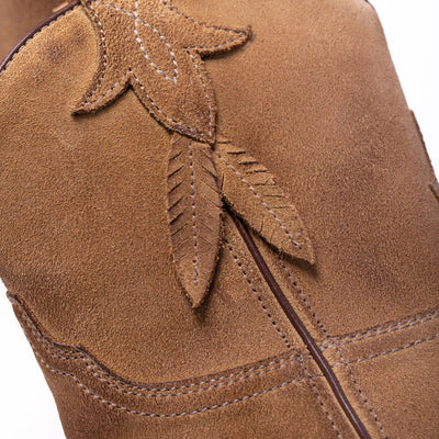 Womens Bluebell Feather Camel Suede Boot - Ranch Road Boots™ Side Detailing