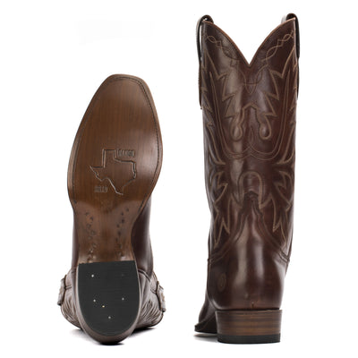 Mens Carson County Brown Handmade Cowboy Boots - Ranch Road Boots™ Bottom Heel