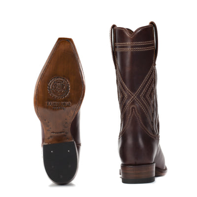 Womens Fayette Brown - Traditional Western Boots - Ranch Road Boots™ Bottom Heel