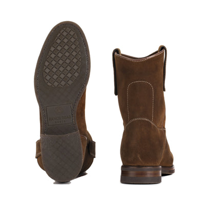 Mens Gunner Brown - Handmade Wellington Boots - Ranch Road Boots™ Bottom Heel