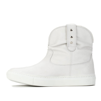 Womens Harper White Handmade Leather Sneaker Boots - Ranch Road Boots™ Side View