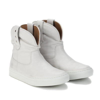 Womens Harper White Handmade Leather Sneaker Boots - Ranch Road Boots™ Pair Side Front View