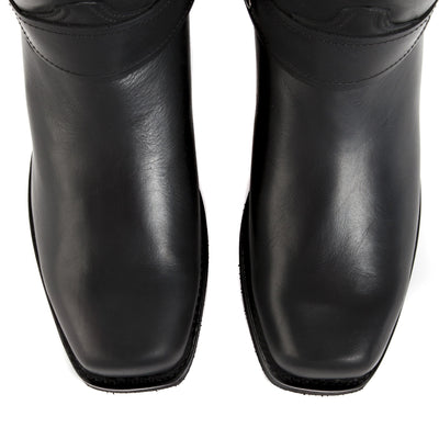 Mens Honcho Black - Handmade Leather Moto Boots - Ranch Road Boots™ Top