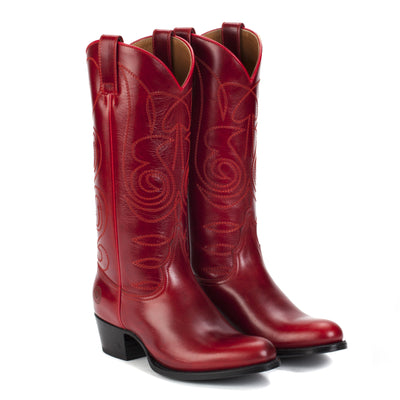 Womens Kendall Red - Luxury Leather Cowboy Boots - Ranch Road Boots™ Front Side Pair