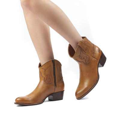 Womens Kendall Short Cognac - Luxury Cowboy Bootie - Ranch Road Boots™ Pair