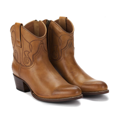 Womens Kendall Short Cognac - Luxury Cowboy Bootie - Ranch Road Boots™ Front Side Pair View