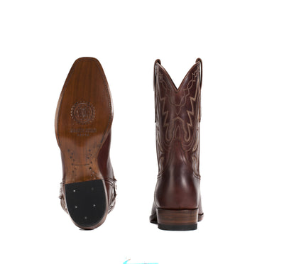 Mens Maverick Brown - Vintage-Style Cowboy Boots - Ranch Road Boots™ Bottom Heel